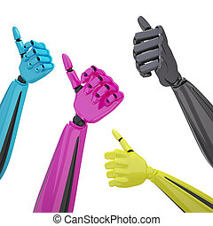 Set of robotic hands with thumb up.