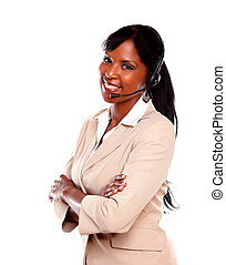 Charming call center employee smiling at you while wearing...