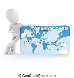 3d man standing near a business card