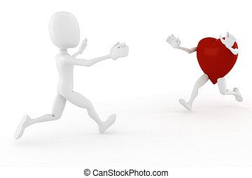 3d man and a hart running toward wachother