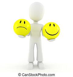 3D, homem, segurando, dois, smileys