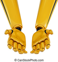 3d robotic palms turned up. - Golden robotic palms turned...