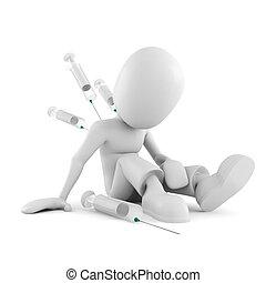 3d man drug addict, on white background