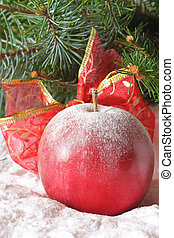 Christmas apple - Christmas apple with a ribbon in the snow...