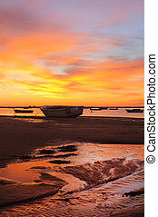 sunrise with fishing boats - Beautiful view of sunrise with...