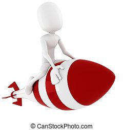 3d man riding a rocket, on white