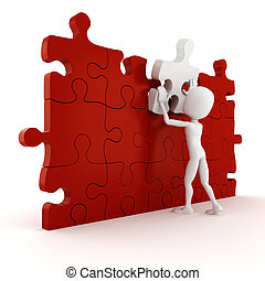3d man completing a puzzle, on white background