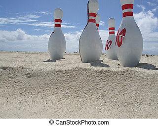 playa, diversión, y, juegos, bolos
