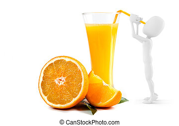 3d man drinking orange juice