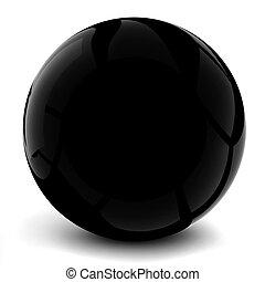3d black sphere, on white background