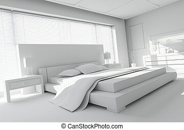 3d clay render of a modern bedroom