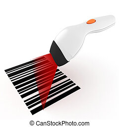 3d bar code scanner, on white background