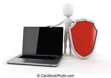 3d man and laptop - safety online business