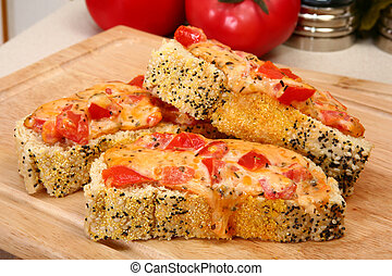Cheddar Bruschetta - Cheddar bruschetta in kitchen or...