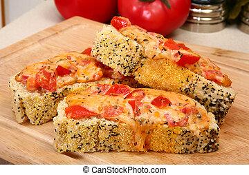 Cheddar Bruschetta - Cheddar bruschetta in kitchen or...