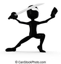 3d man ninja, holding a katana: