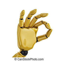 "Gold robotic hand giving the ""okay"" sign - a 3d robotic hand..."