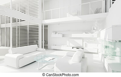 3d clay render of a modern interior design