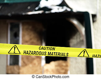 Caution Hazardous Materials Yellow Police Tape