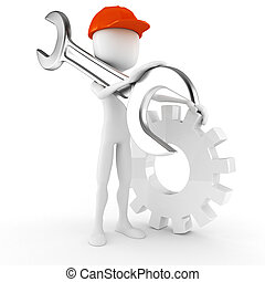 3d man worker holding a big wrench, isolated on white background