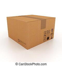 caixa, papelão,  3D