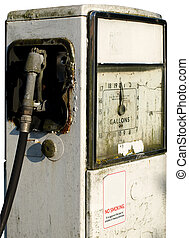 Old broken gas or petrol station pump