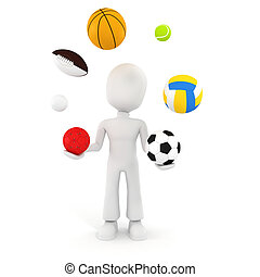 3d man playing with different sport balls