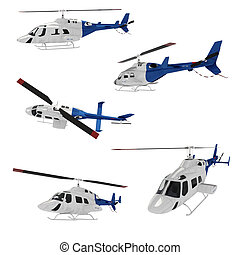 3d helicopert pack isolated on white