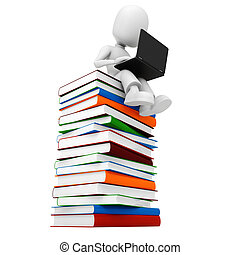 3d man sitting on a pile of books an d working at hes laptop