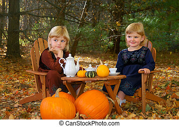 Outdoor Tea Party - Two young sisters having a tea party in...