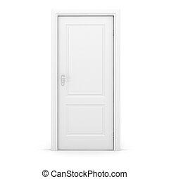 3d, biały, drzwi, biały, tło