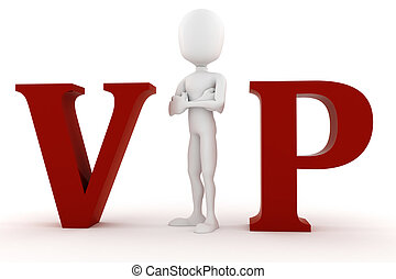 3d man VIP isolated on white background