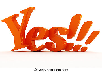 3d shiny colorful YES text