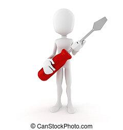 3d man holding a screwdriver