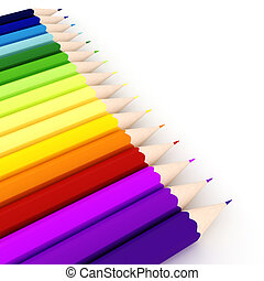 3d colorful crayons, on white background