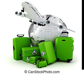 3d world wide tourism concept