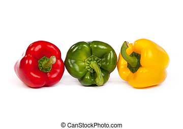 Group of seet bell peppers isolated on white - Group of seet...