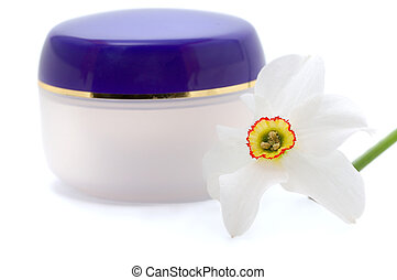 cosmetic cream with flowers - blank container for cosmetic...