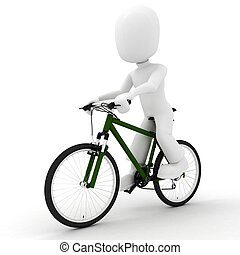 3d man riding a cbicycle