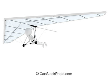 3d man flying a hang-glider
