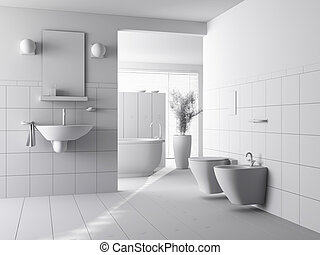 3d clay render of a modern bathroom interior design