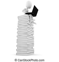 3d man sitting on a pile of books  working at his lapop