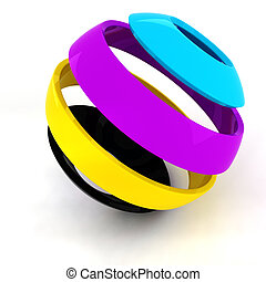 3d colorul CMYK sphere on white background