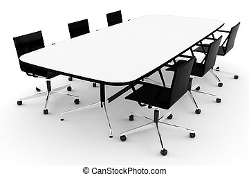 3d conference table, on white