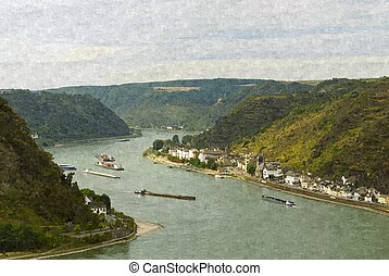 Lorelei - Loreley rock on the Rhine near St Goarshausen,...