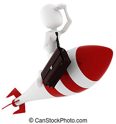 3d man riding a rocket, on white