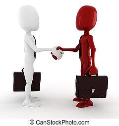 3d man - business men closing a deal