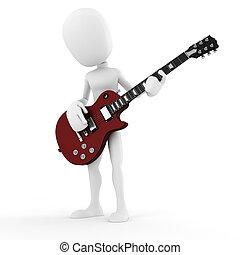 3d man guitar player, music star