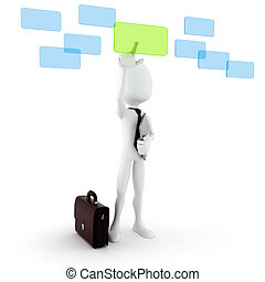 3d man business man making choise,on white background