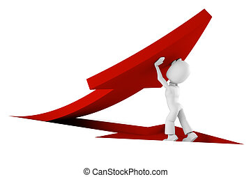 3d man pushing a red arrow from the ground